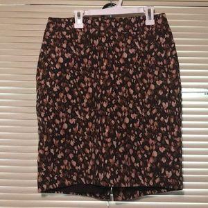 Merona size 2 stretch pink brown pencil skirt